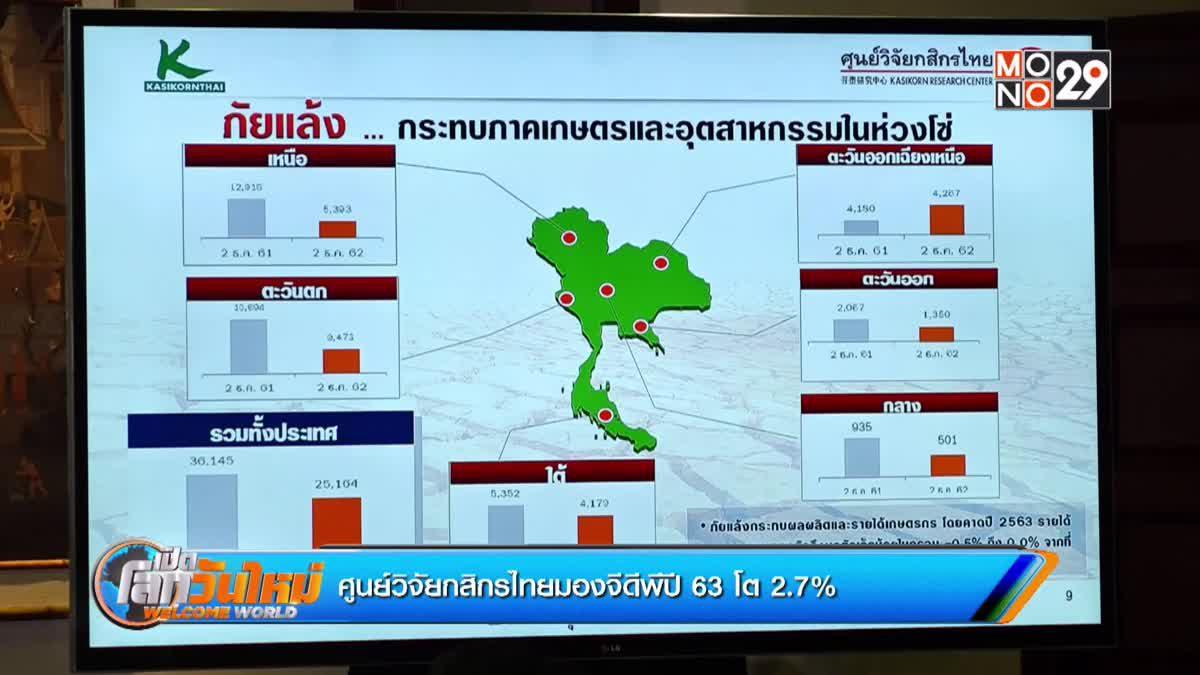 ศูนย์วิจัยกสิกรไทยมองจีดีพีปี 63 โต 2.7%