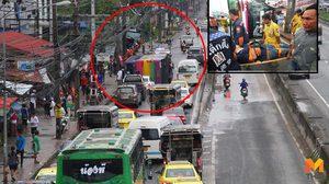 รถบัสรับส่งพนักงาน ปีนเกาะกลางถนน พลิกคว่ำ เจ็บ 31 ราย