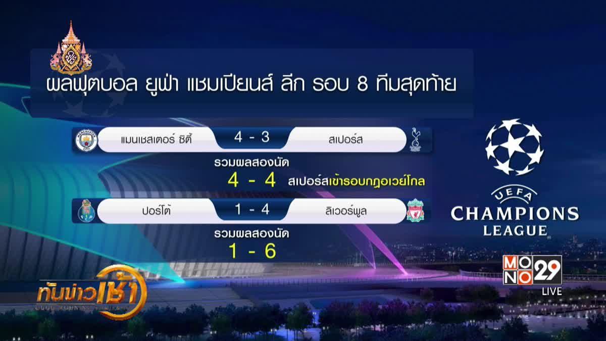 ผลการแข่งขันฟุตบอลยูฟ่า แชมเปี้ยนส์ลีก รอบ 8 ทีมสุดท้าย นัดที่ 2