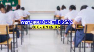 ตารางสอบ O-NET ปีการศึกษา 2562