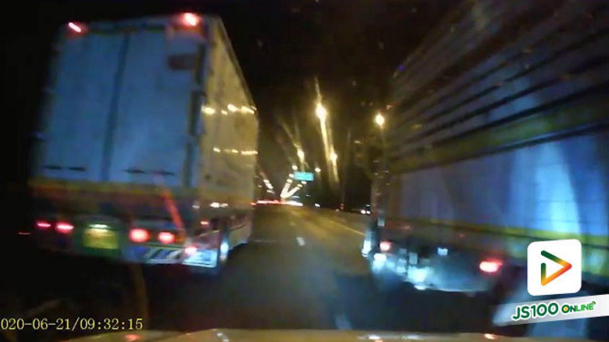 รถบรรทุกเปลี่ยนเลนไม่เปิดไฟเลี้ยว VS ปิคอัพพยายามแทรก..
