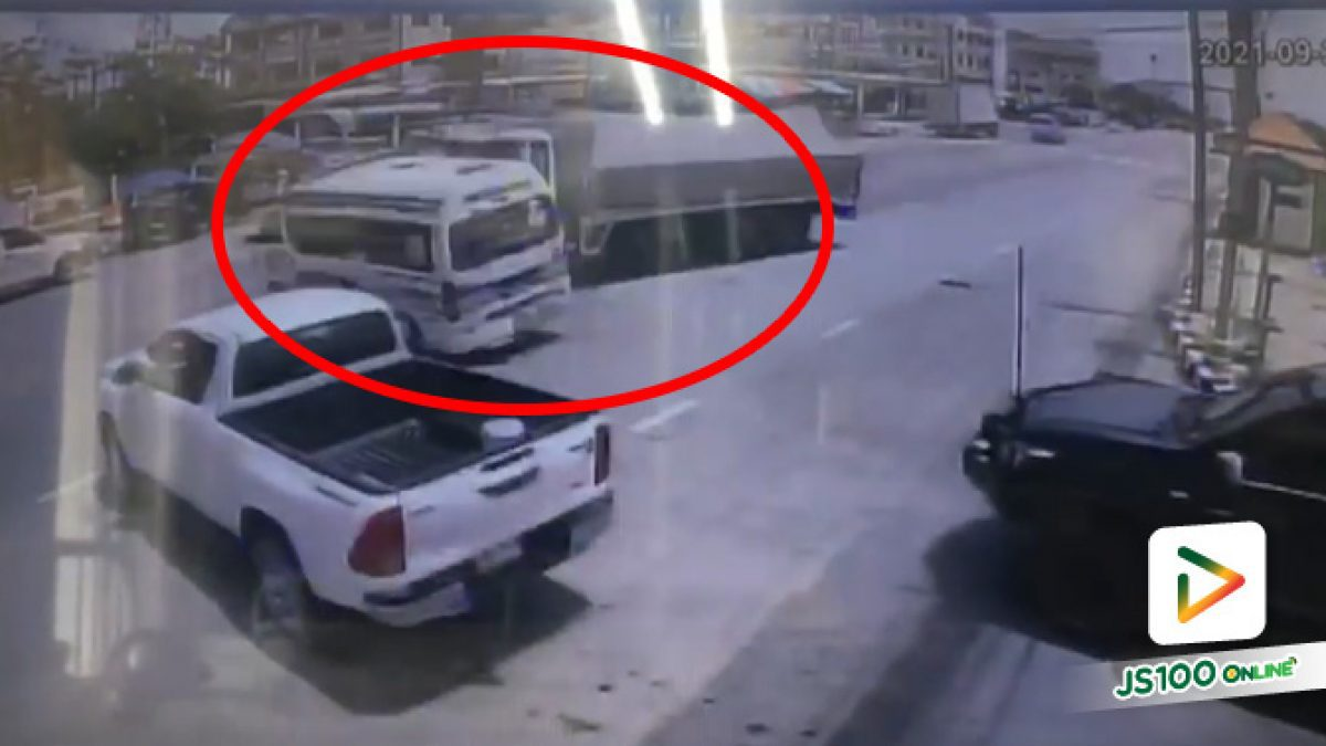 รถกู้ภัยข้ามแยกตัดหน้า รถบรรทุกเบรคไม่ทันชนกลางลำ ก่อนชนรถคันอื่นรวม  7 คัน บาดเจ็บ 3 คน