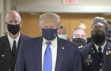"""""""ทรัมป์"""" สวมหน้ากากผ้า ออกสื่อเป็นครั้งแรก"""