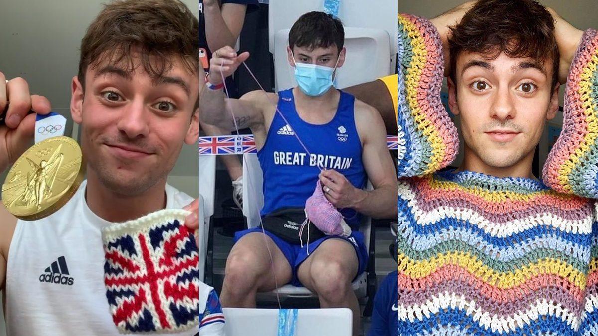 น่ารัก Tom Daley นักกีฬากระโดดน้ำสหราชอาณาจักร ถักนิตติ้งระหว่างนั่งเชียร์แข่งขัน