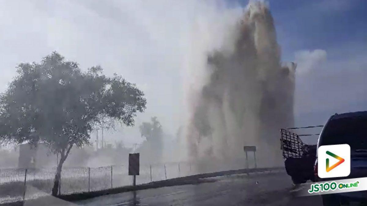 ท่อส่งน้ำประปาขนาดใหญ่ระเบิด ริมถนนมอเตอร์เวย์ ที่กม.51 จ.ฉะเชิงเทรา  เลยจุดพักรถฯ ประมาณ 600 ม. จนท.ยังควบคุมไม่ได้