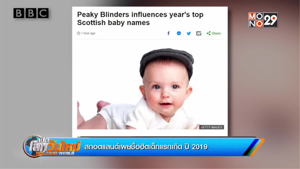 สกอตแลนด์เผยชื่อฮิตเด็กแรกเกิด ปี 2019