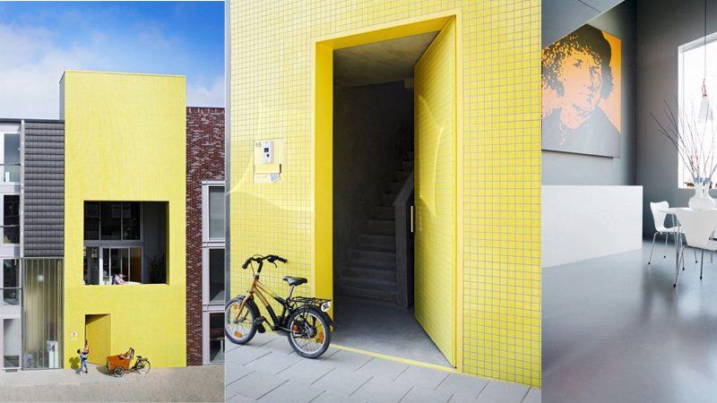 เด่นสุดในซอย แบบบ้านตึกแถว สไตล์โมเดิร์นสีเหลืองสด!