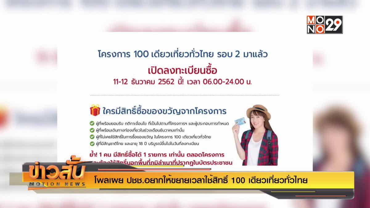 """โพลเผย ปชช.อยากให้ขยายเวลาใช้สิทธิ์ """"100 เดียวเที่ยวทั่วไทย"""""""
