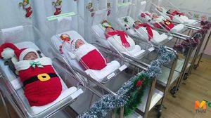 สุดน่ารัก! รพ.พญาไทศรีราชา จับทารกสวมชุดซานตาครอส รับวันคริสต์มาส