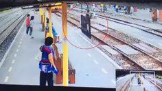 เปิดคลิปนาทีชีวิต พนง.การรถไฟ วิ่งผลักชายยืนบนราง ขวางทางเดินรถ