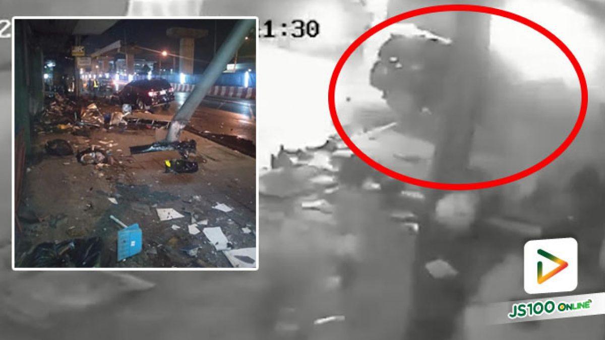 สาวหลับใน! ขับฟอร์จูนเนอร์พุ่งชนร้านผัดไทย – หอยทอดพังราบ คนขายกลับก่อน 20 นาที รอดหวุดหวิด