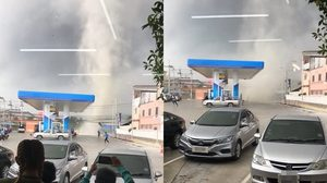 นาทีระทึก! เกิดลมพายุขนาดใหญ่  ที่ปั้ม ปตท.ซอยมังกร-ขันดี