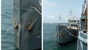 เปิดภาพความเสียหาย เหตุเรือหลวงจวง ชนกับเรือ DONGYANG CHEMI