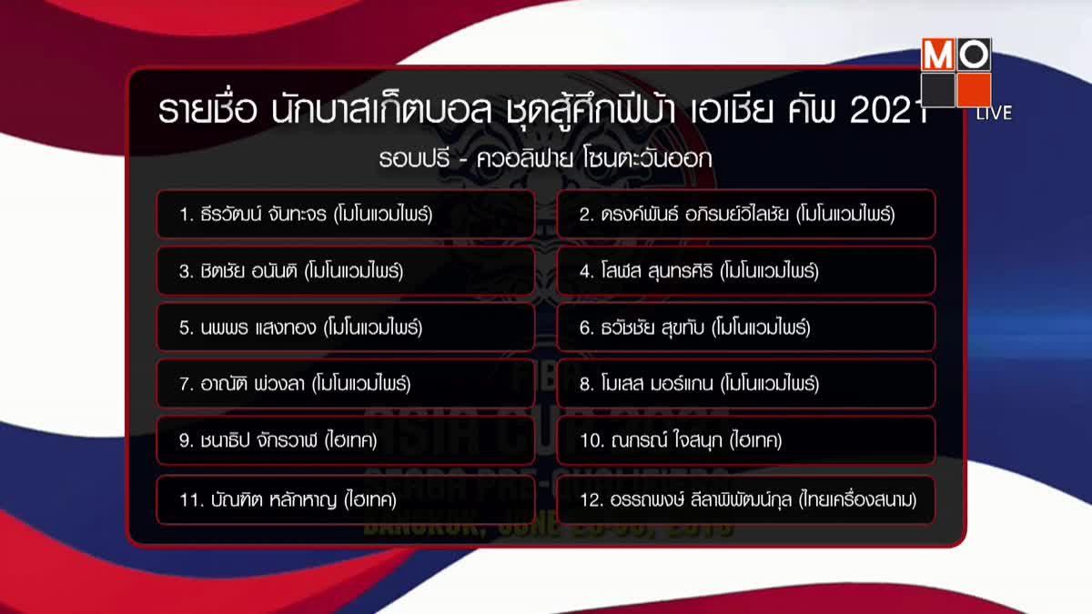 ยัดห่วงไทย เปิดโผ 12 คนสุดท้าย ลุยบาสฟีบ้า