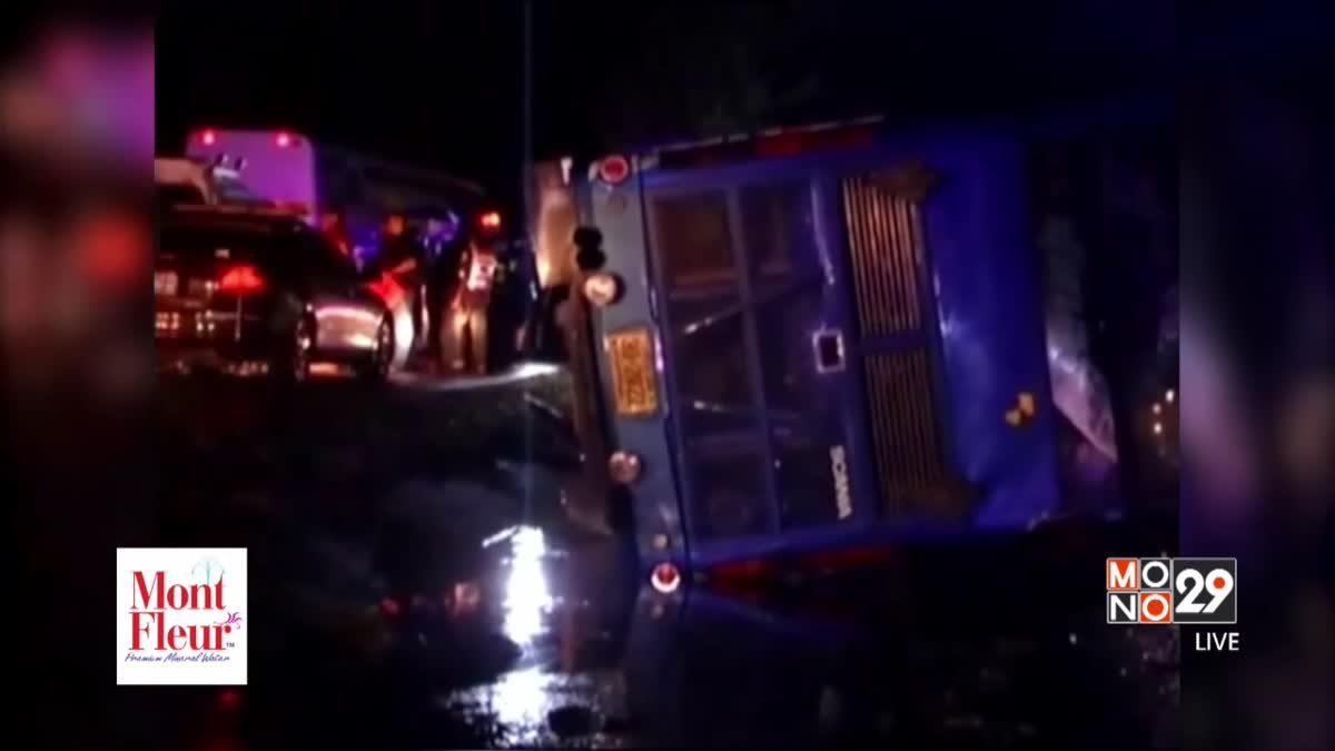 รถโดยสารเสียหลักตกร่องกลางถนนเจ็บกว่า 20 คน
