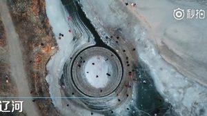 อัศจรรย์ธรรมชาติ จานน้ำแข็งวน ที่เมืองจีน