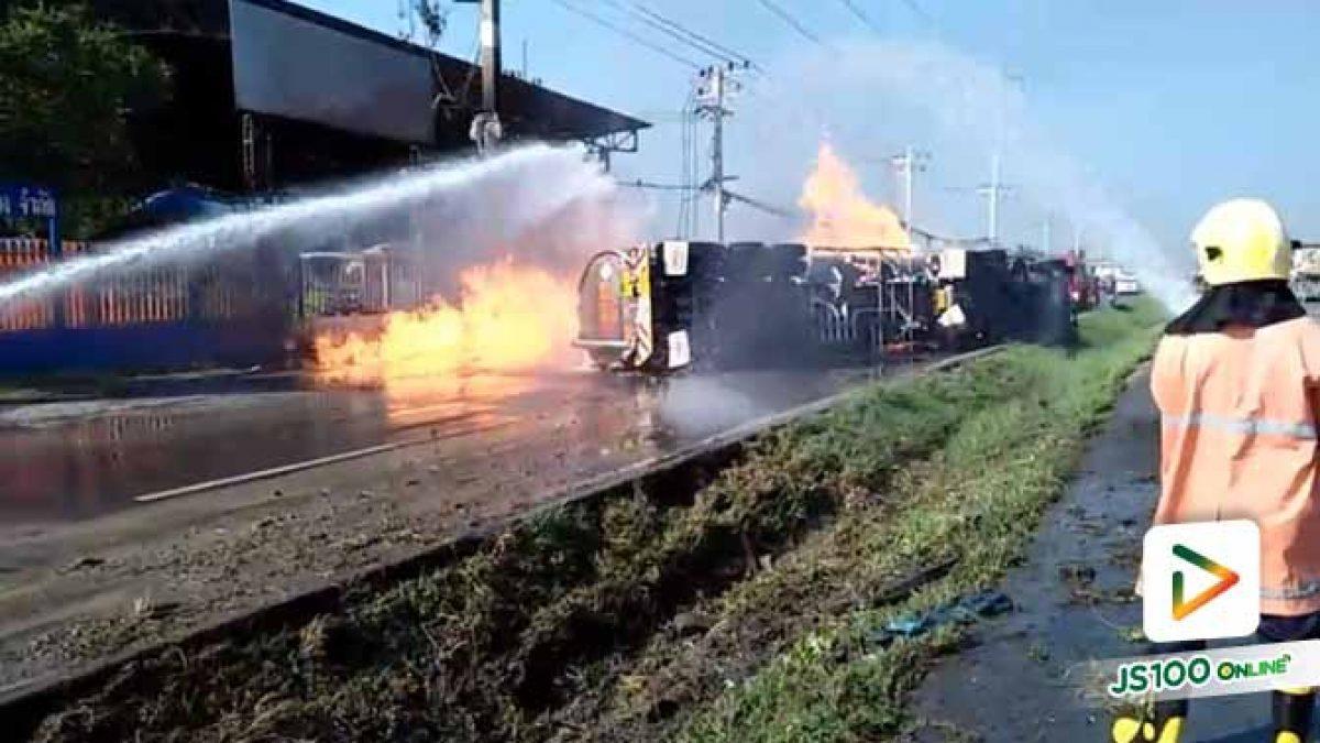 เพลิงไหม้รถบรรทุกน้ำมันบนถ.พหลโยธิน ช่วงวังน้อย รถติดขัดยาวเข้าเขตจ.สระบุรี