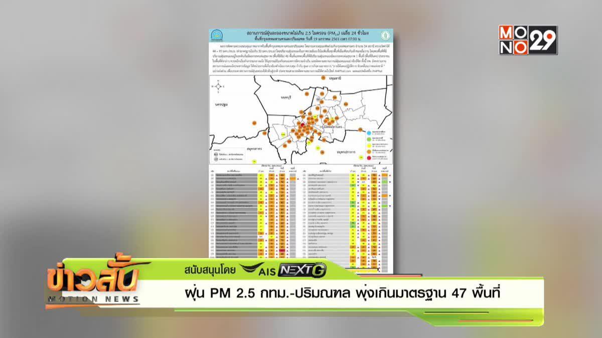 ฝุ่น PM 2.5 กทม.-ปริมณฑล พุ่งเกินมาตรฐาน 47 พื้นที่