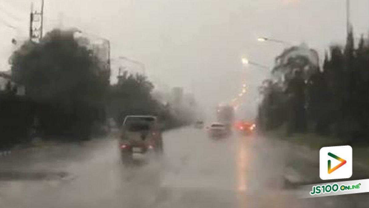พายุฝนลมแรง ลูกเห็บตก ระหว่างทางเข้า อ.เมือง จ.เชียงราย (10-05-2561)