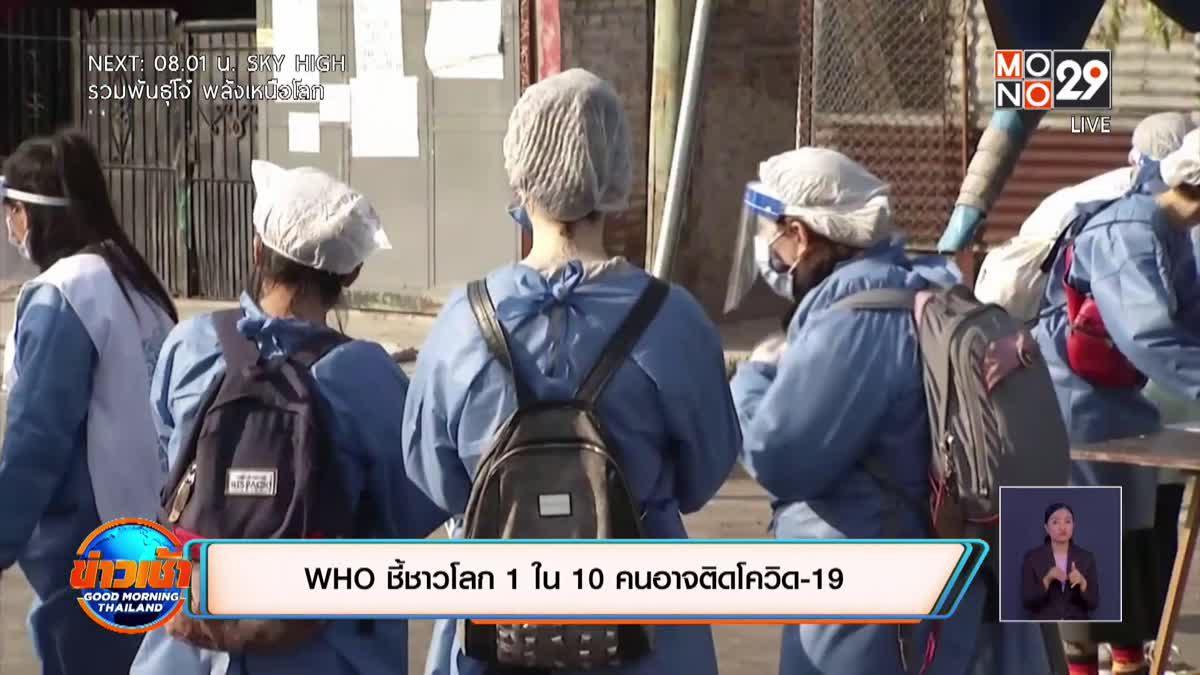WHO ชี้ชาวโลก 1 ใน 10 คนอาจติดโควิด-19