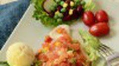 สูตร สเต็กปลาดอลลี่นึ่งมะเขือเทศ อาหารคลีนทำกินเอง