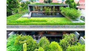ชมดีไซน์ บ้านแฝดสองชั้น  พื้นที่ปอดส่วนตัวตามหลักจัดสวนแบบจีนโบราณ