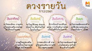 ดูดวงรายวัน ประจำวันศุกร์ที่ 7 ธันวาคม 2561 โดย อ.คฑา ชินบัญชร