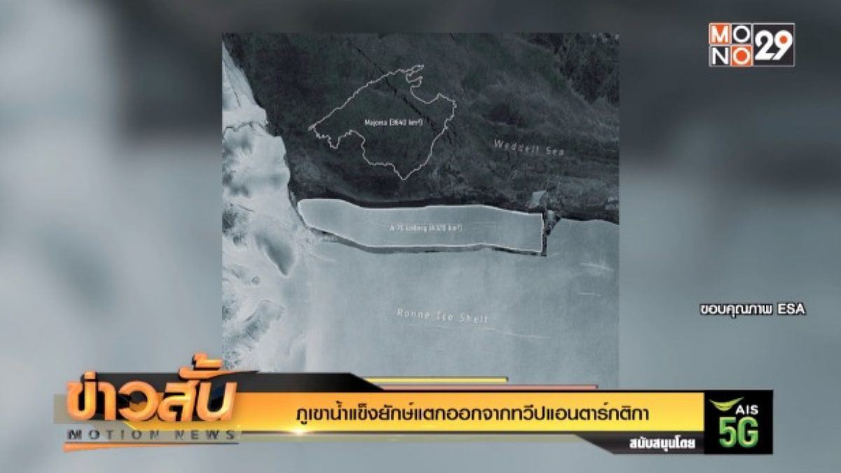 ภูเขาน้ำแข็งยักษ์แตกออกจากทวีปแอนตาร์กติกา