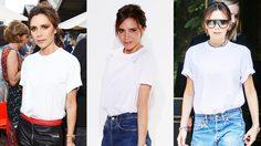 มิกซ์แอนด์แมทช์ เสื้อยืดสีขาว สุดธรรมดาให้ดูหรูดูปัง แบบ วิคตอเรีย เบคแฮม