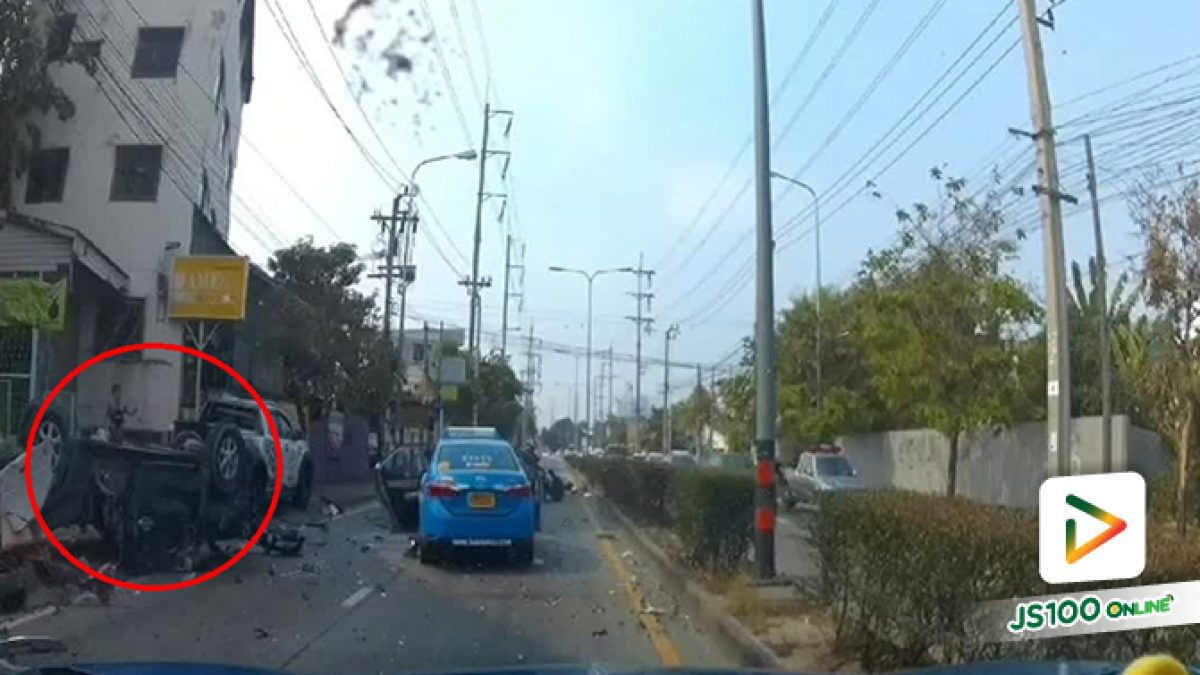 'ดีแมค' พุ่งข้ามฝั่งชน'อัลเมร่า'เสียชีวิตทั้งคัน ถนนเลี่ยงเมืองนนทบุรี