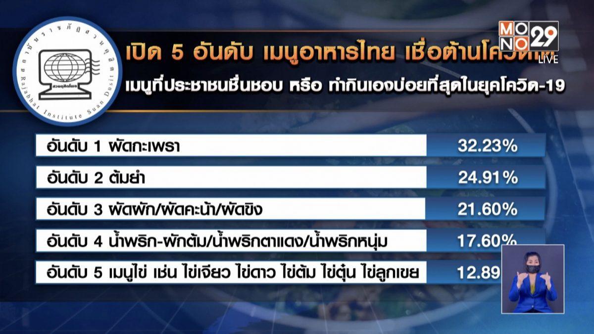 เปิด 5 อันดับ เมนูอาหารไทย เชื่อต้านโควิดได้