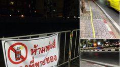 ไม่เกรงกลัว! ผู้ค้าพ่นสีบนฟุตบาธถนนข้าวสาร แม้มีป้ายห้ามพ่นสีจองที่ขายของ