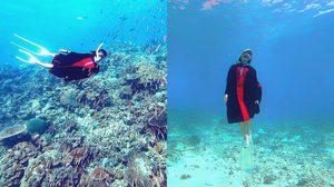 บัณฑิตสาว ถ่ายภาพชุดครุยใต้ทะเล