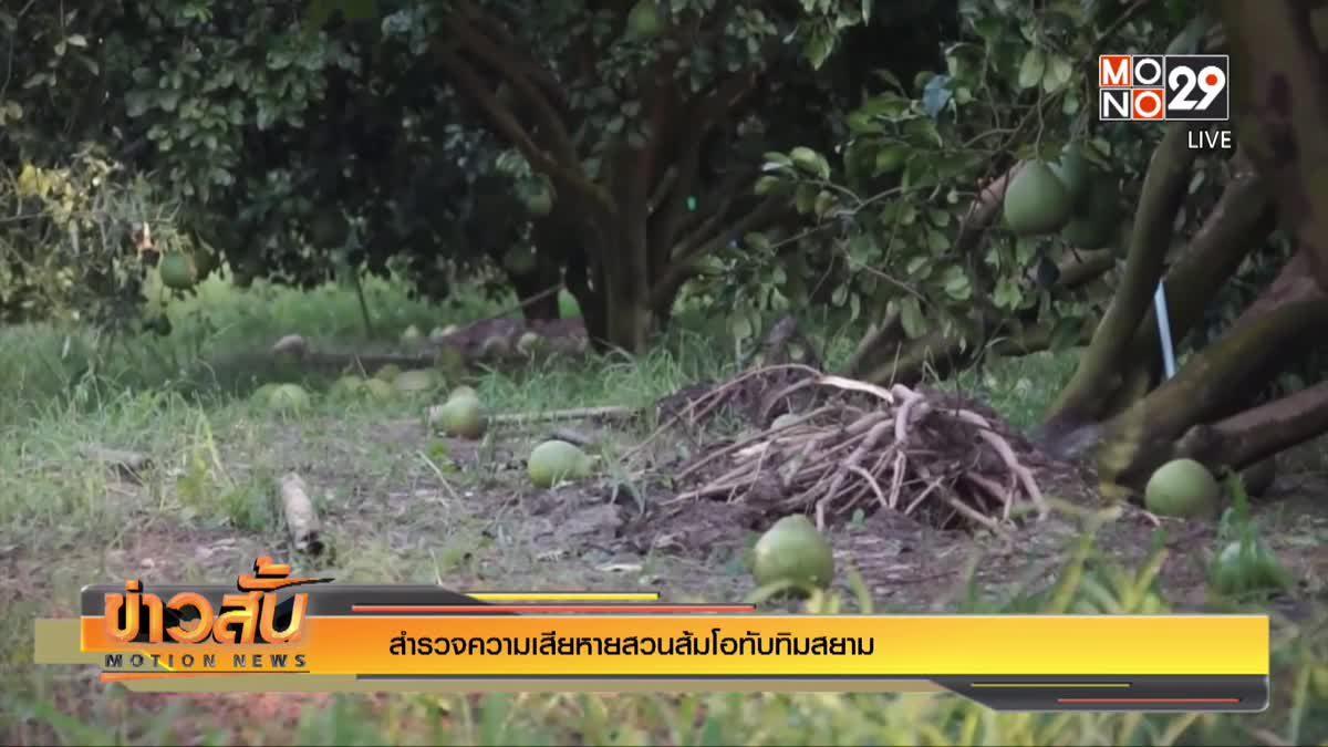 สำรวจความเสียหายสวนส้มโอทับทิมสยาม