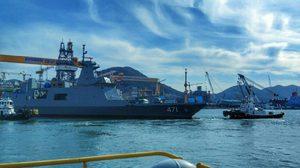 ทัพเรือ ทำพิธีปล่อย 'เรือหลวงท่าจีน' เรือรบลำใหม่ไทยลงน้ำแล้ว