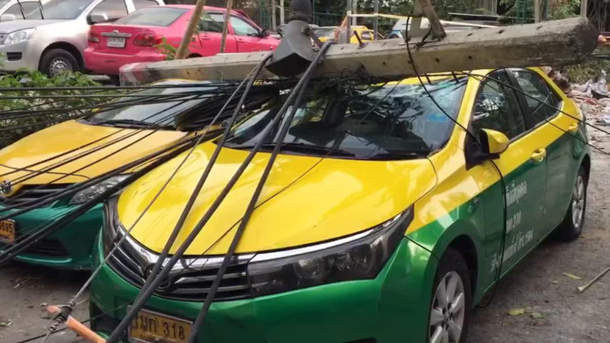 ด่วน!แฟลตดินแดงถล่มเสาไฟฟ้าล้ม7ต้น รถแท็กซี่-เก๋งพัง9คัน
