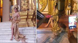 ชาวพม่าไม่พอใจ! หลังสาวประเภทสอง แต่งชุดไทยเกาะอก ถ่ายแบบที่ ชเวดากอง