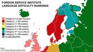 OMG! แผนที่แสดงให้เห็นว่าใช้เวลานานเท่าไร ในการฝึกภาษาทั่วโลก
