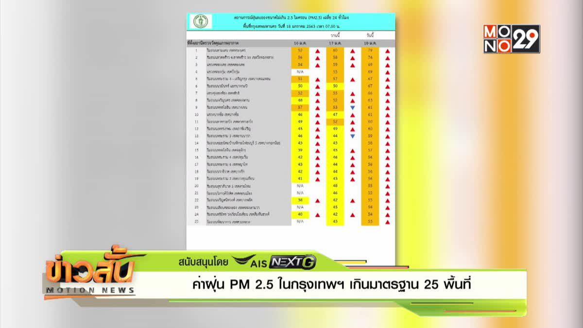 ค่าฝุ่น PM 2.5 ในกรุงเทพฯ เกินมาตรฐาน 25 พื้นที่