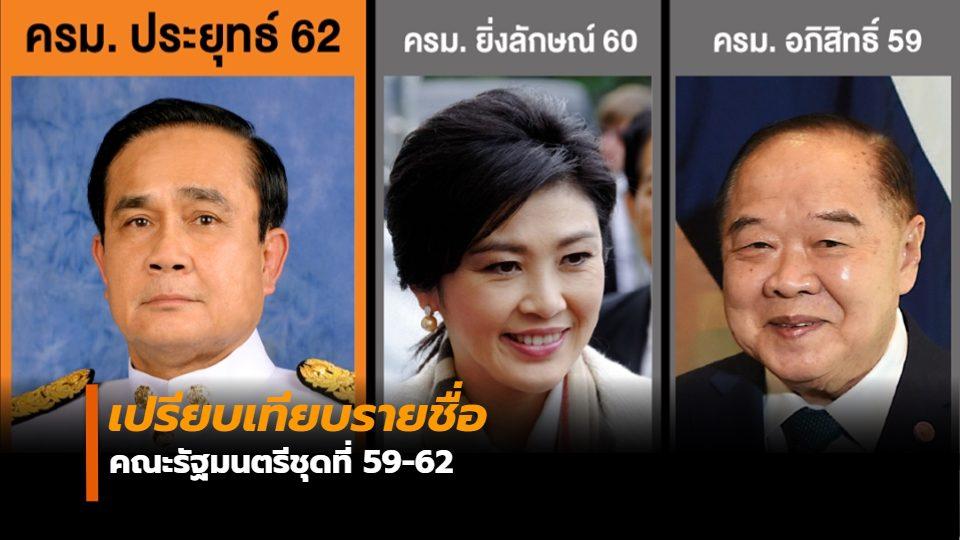 เปรียบเทียบรายชื่อ คณะรัฐมนตรีชุดที่ 59-62