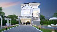 แบบบ้านสามชั้น บ้านแนวโมเดิร์น พื้นที่ใช้สอย 222 ตารางเมตร
