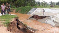 ฝายน้ำล้นโคราชแตก หลังฝนถล่มหนักติดต่อกันหลายวัน