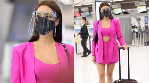 ไปเอามง3! Airport Look อแมนด้า ชาลิสา ในชุดผ้าไหมสีชมพู พร้อมบินไป มิสยูนิเวิร์ส