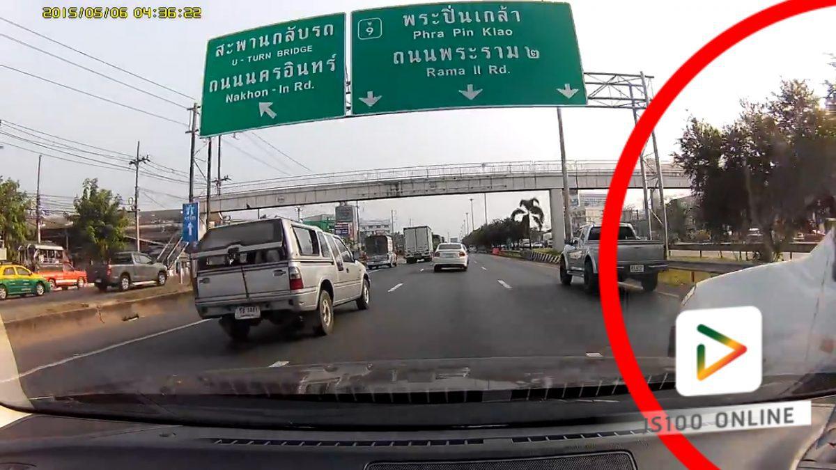 รถปิคอัพขับชนกับรถเก๋ง ถนนกาญจนาภิเษก (16-02-61)