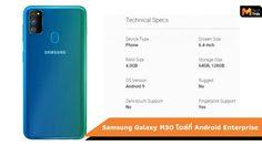 Samsung Galaxy M30 สมาร์ทโฟนระดับกลางโผล่ในรายชื่อ Android Enterprise
