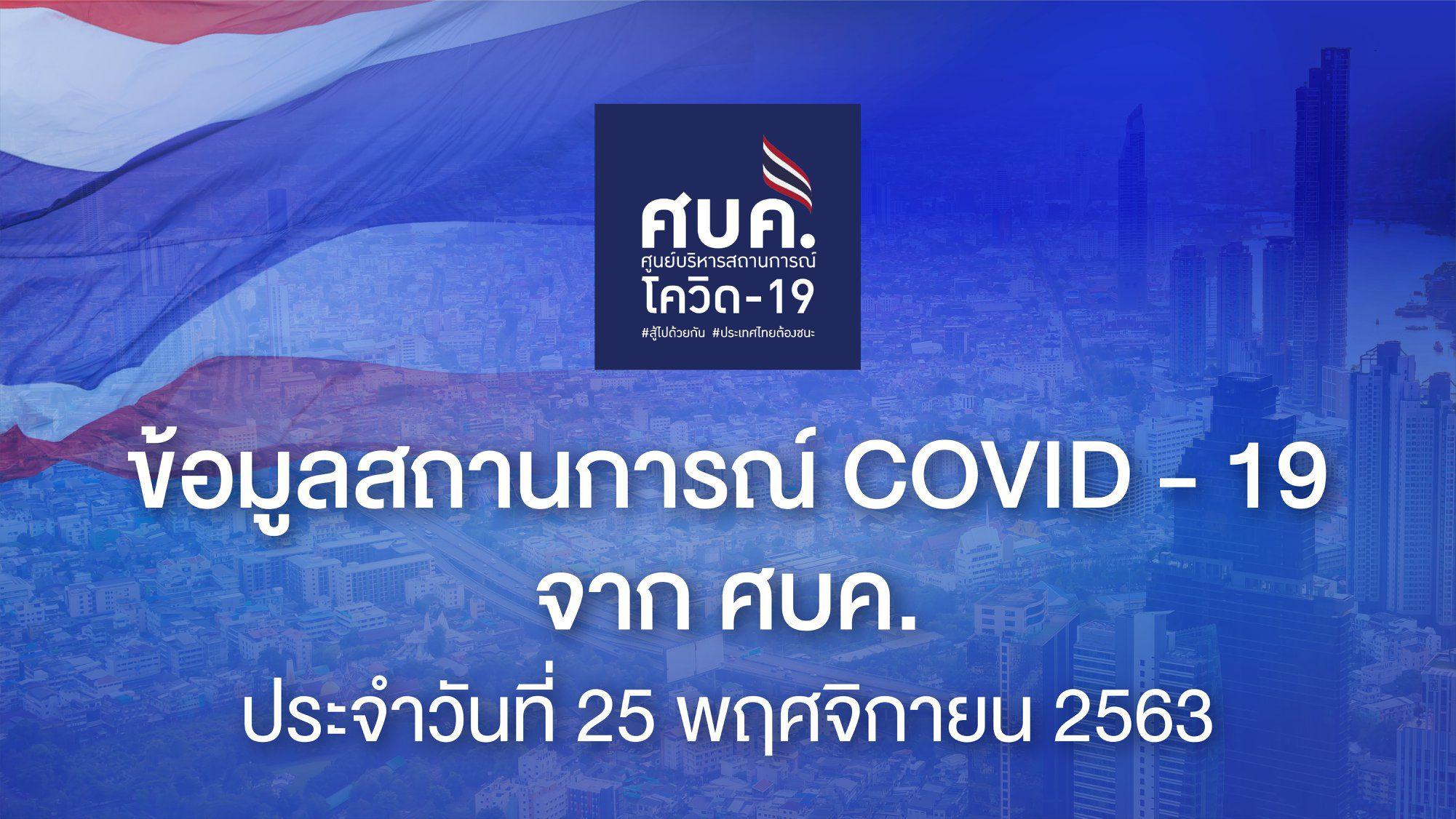 รายงาน โควิด-19 ในไทย วันที่ 25 พ.ย. 63