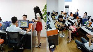 ความสุขที่แท้จริง บริษัทจีนจ้างพริตตี้ มาให้กำลังใจเหล่าพนักงานบริษัทชาย