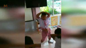 น่ารัก! หนูน้อยอนุบาลเมืองคอน ซ้อมเต้นเพลงดัง โชว์งานกีฬาสี
