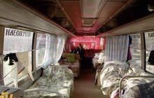 รถบัสดัดแปลงที่หลบภัยหนาวคนไร้บ้านในรัสเซีย