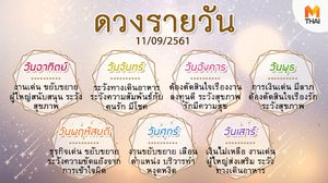 ดูดวงรายวัน ประจำวันอังคารที่ 11 กันยายน 2561 โดย อ.คฑา ชินบัญชร